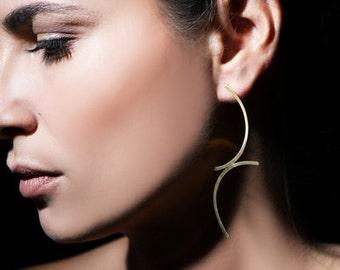 ON SALE, Free shipping, arc earrings, gold earrings, long earrings, unusual jewelry, trendy gifts