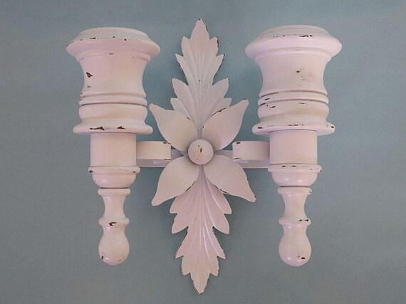 Shabby Chic Vintage Wall Sconce, Distressed Candle Holders, Cottage Decor Candle Sconce, French Cottage Sconce, Shabby Chic Candle Holders