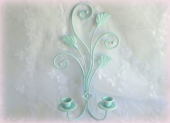 Vintage Wall Sconce, Robin's Egg Blue Candle Sconce, Shabby Chic Sconce, Candle Holder, Cottage, Wall Candle Sconces, Candle Sconces