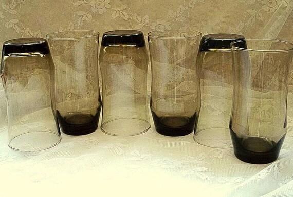 Vintage 1970's tawney smoked drinking glasses, set of 6, retro, smoked glasses, smokey, glassware,tumblers