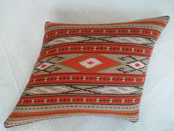 Pillow wool red beige geometric Bulgarian embroidery hand embroidered pillow rhombus stripes