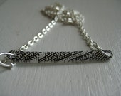 Black and White Fancy Stripe Necklace OOAK