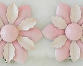 Vintage Pink Enamel over Metal Flower Clip On Earrings Excellent Condition Mod Groovy Flower Power 1960s