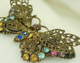 Butterfly Filigree Rhinestone Vintage Brooch Pin Exquisite Detail Multi Color Layers Antiqued Gold Tone Metal Pink Blue Orange Green Dainty