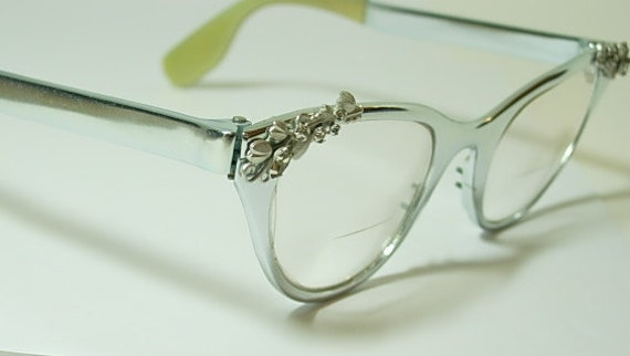 Vintage Silver Eyeglass Frames : Vintage Tura Silver Cat Eyeglass Frames Decorated with Flower