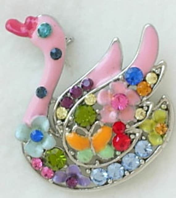 Vintage Colorful Enamel Rhinestone Whimsical Swan Brooch Multi-Colored Duck Bird Excellent Condition All Enamel and Rhinestones Intact