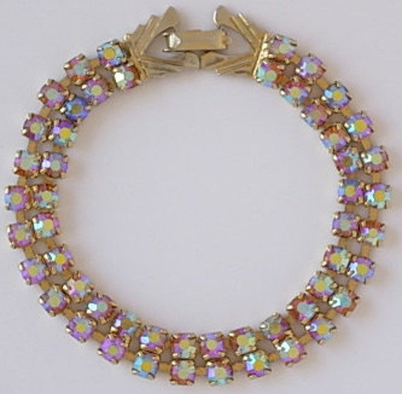 Exquisite Vintage Weiss Prong Set AB Rhinestone Gold Tone Double Strand Bracelet Signed Champagne Pink Hues Rhinestones Excellent Condition