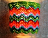 Psychedelic Lampshade OOAK Chevron Hippie Crocheted Bright Colorful Lighting Retro Inspired Housewares Home Decor Boho