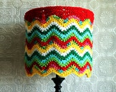 RESERVED Eclectic Lamp Shade Crocheted Chevron Colorful Housewares Hippie Lighting OOAK Unique Unusual