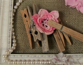 Vintage Clothespin Set with Vintage Crocheted Flower for Craft Projects