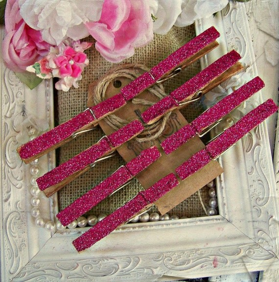 Pink Glitter Clothespins, Regular Size Clothespins, Clothespins, Shabby Style, Cottage Chic, Glitter, Scrapbook Accents, Paper Craft Accents