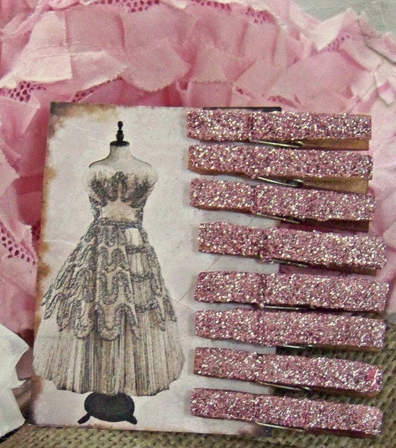 Shabby Chic Glittered Clothespin Set in Ballet Pink