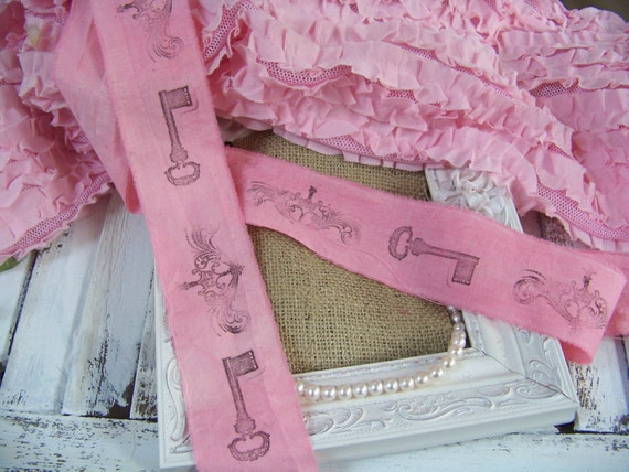 Shabby Chic Hand-Stamped, Hand-Dyed French-Inspired Ribbon