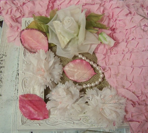 SALE--Premium Pink and Cream Vintage Millinery Flower Assortment for Shabby Chic Vintage Craft Projects