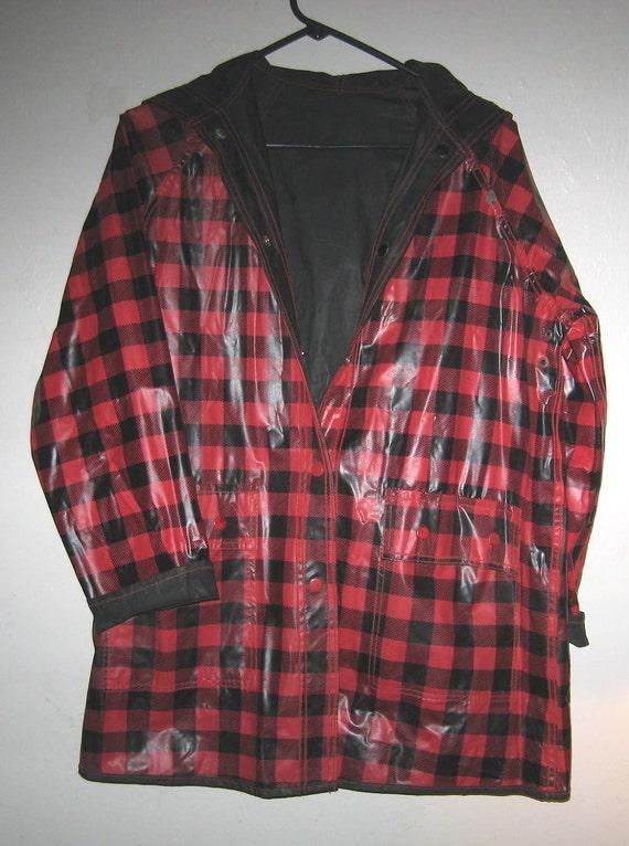 Raincoat, Vinyl, Vintage 60's, Reversible, Hooded,  Red Plaid, Red and Black