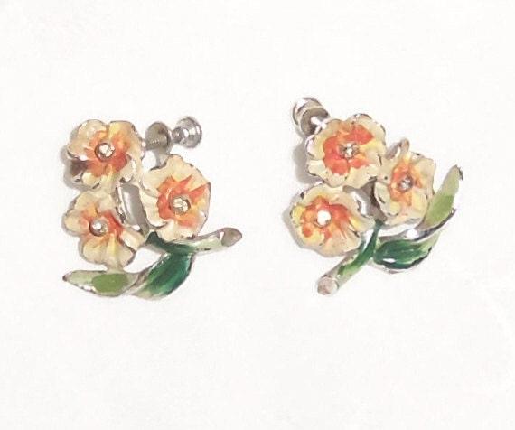 Vintage Earrings, Floral with Rhinestones, Painted Metal Earrings, Enameled, Orange Flower Earrings, Tangerine Color Flowers, Small