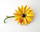 ORIGINAL BY ROBERT Enamel Yellow Daisy Pin with Lady Bug