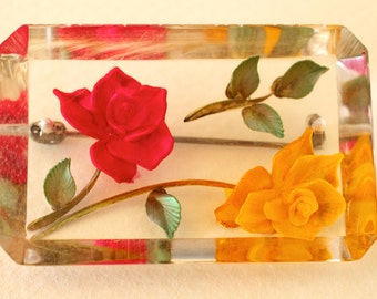 Reverse Carved Lucite Brooch Yellow and Red Roses
