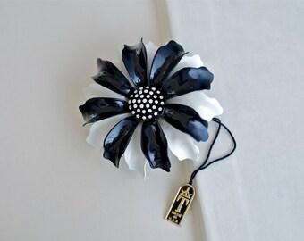 TRIFARI Black and White Polka Dot Flower Pin 1950s Vintage
