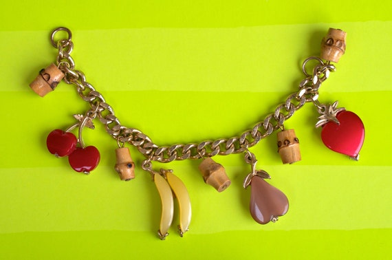 Fruit Charm Bracelet 1960s Vintage