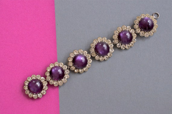 Purple Resin Cabuchon and Rhinestone Bracelet 1930s Vintage