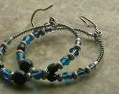 Surgical wire round earrings, blue earrings, blue beads, black beads