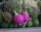 Purple ball round felted earrings, Felted jewelry