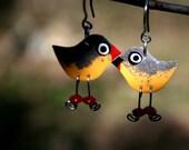 Unique orange robin bird earrings, orange robin jewelry, stainless steel, handpainted