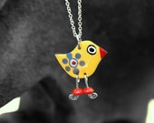 Yellow whimsical bird pendant, yellow pendant, Stainless steel pendant, bird dangle pendant, bird dangle charm