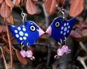 Handpainted dark blue bird whimsical funny cute earringss, stainless steel earrings