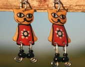 Handpainted dangle cat earrings,cat jewelry,