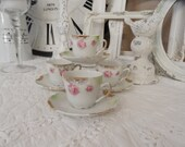4 Darling Dainty Shabby Chic Vintage Tea Cups and Saucers Beautiful Hand painted Pink Roses