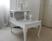 FREE SHIPPING on this Adorable White Vintage Hand painted Shabby Chic End Table