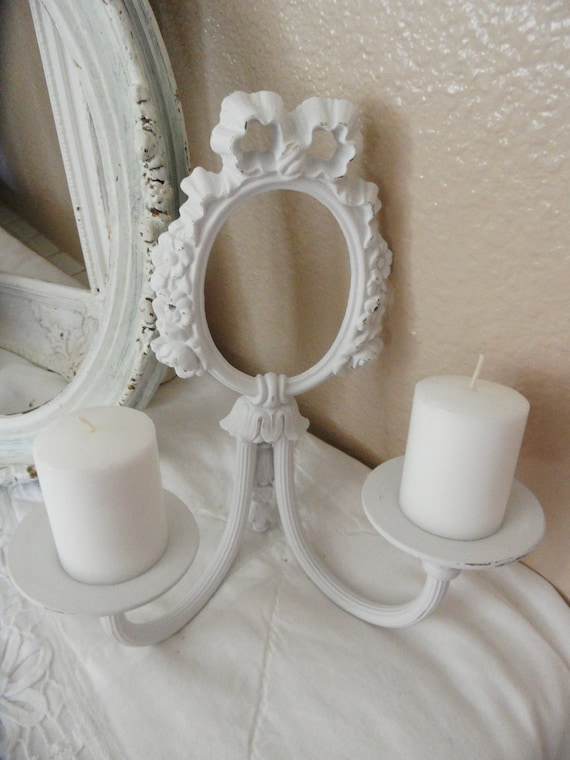 Adorable Vintage Shabby Chic Iron Ornate Wall Sconce With Bow and Roses