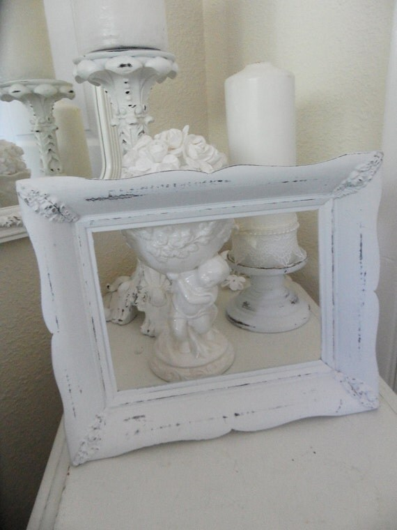 Shabby Chic Vintage Hand Distressed Carved White Frame