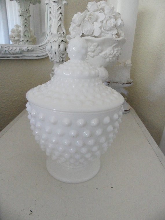 Beautiful Hobnail Vintage White Milk Glass Candy Dish