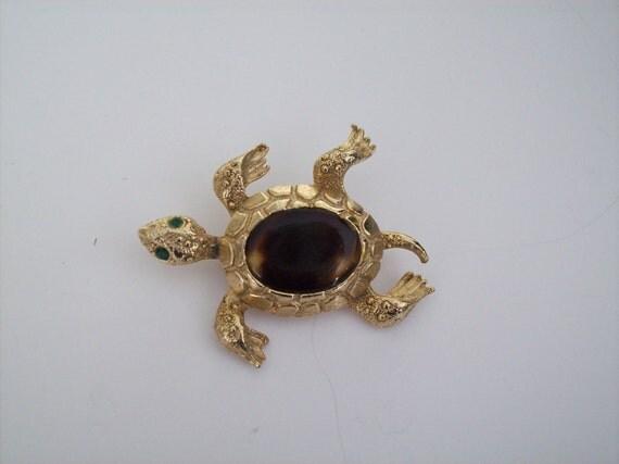 Vintage Swimming Turtle Pin