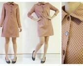 Women thigh length long sleeve light brown check cotton dress