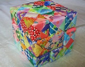 Origami Soma Cube Puzzle, Made to Order - Handmade from Origami Sonobe Units (modules) using Chiyogami Yuzen paper