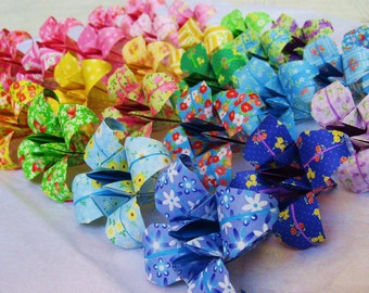 30 Large Origami Irises - paper flowers made to order with chiyogami paper - great for gifts, wedding or party favors, and table decorations