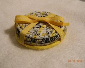 Yellow, Grey, Black and White Fabric Coiled Coasters Set--Adoption Fundraiser
