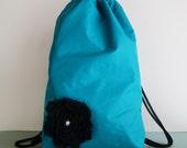 Turquoise Backpack : Women's Handmade Nylon Drawstring Backpack with Fabric Flower