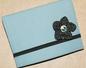 Mini Business Portfolio with Black Crystal Flower : Travel-Size Business Portfolio