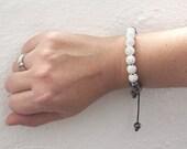Shamballa Style Silver & Black Beaded Bracelet