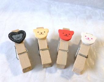 miniature clothespins, bears, multicolor