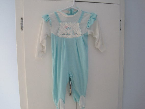 SALE- Turquoise one piece infant girls outfit- Size M
