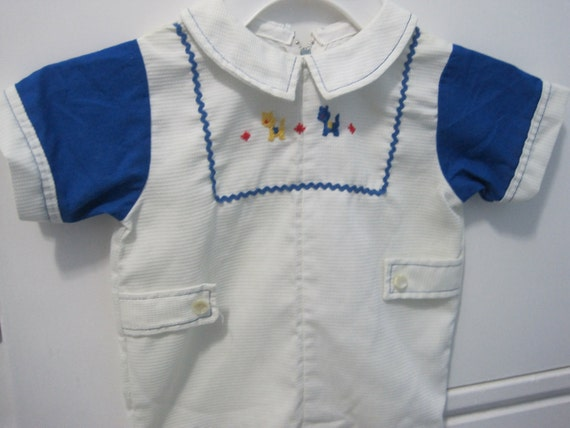 Vintage white one piece infant boys outfit, seventies era