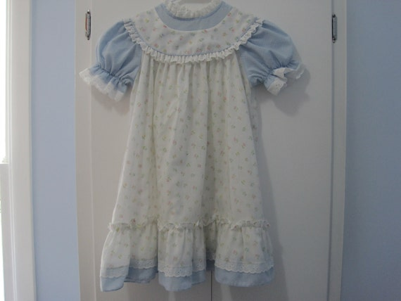 SALE- Baby blue prairie style toddler dress