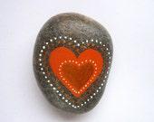 SALE.. Heart stone/paperweight, orange/grey