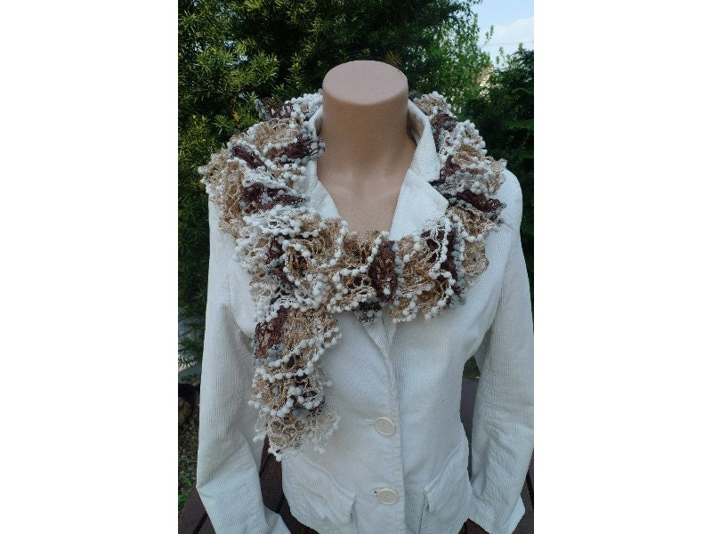 SALE Handmade Loopy Ruffle Flounce SALSA SCARF with PomPoms on the  Handmade Scarves For Sale Online